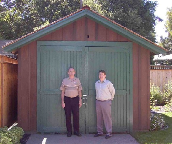 Bill Hewlett and Dave Packard in front of the garage where they started HP. Other companies started in a garage at somebody's house are Apple, Walt Disney, Google, Harley-Davidson, Amazon, Lotus, and the list goes on.